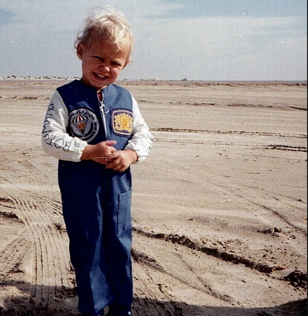 Boy in Rothmans overalls